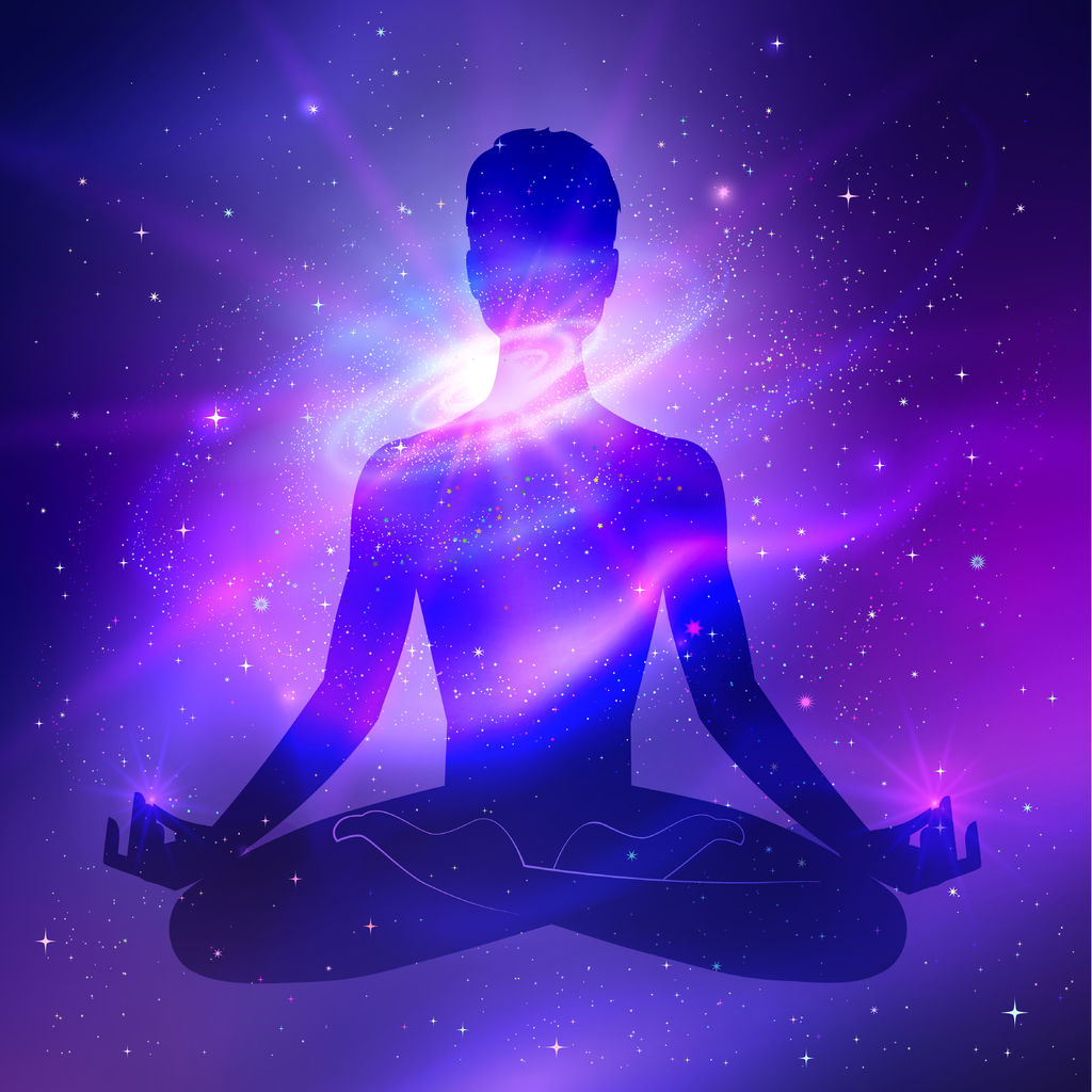 38329445 – outer space and male silhouette. meditation concept.